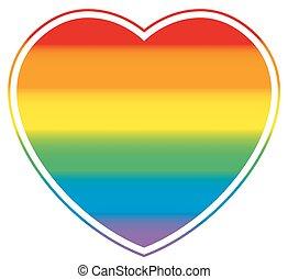 Gay Pride Heart Rainbow Colored Love