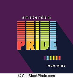 Gay Pride poster rainbow spectrum flag
