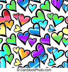Gay pride rainbow colored hearts seamless pattern. Hand rawn ink brush strokes design in doodle grunge style. Modern painted artistic print for a logo, cards, invitations, posters, banners.