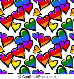 Gay pride rainbow colored hearts seamless pattern.