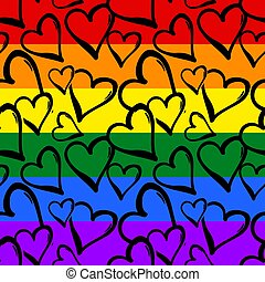 Gay pride rainbow colored hearts seamless pattern.Hand rawn...