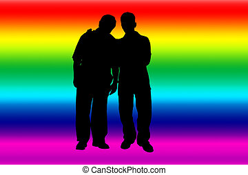 Rainbow banner with gay silhouettes