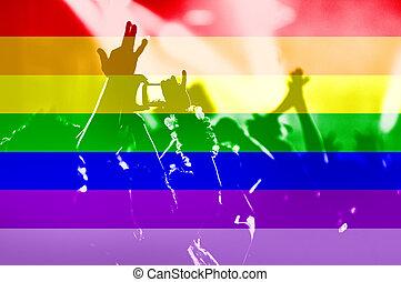 Gay rainbow flag and crowd