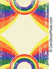 Gay rainbow poster - A vintage gay poster with sunbeams and...