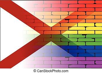 Gay Rainbow Wall Alabama Flag