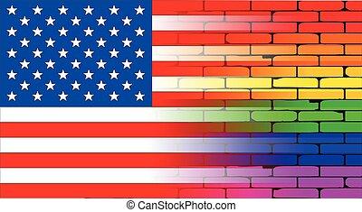 Gay Rainbow Wall American Flag