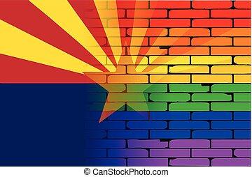 Gay Rainbow Wall Arizona Flag