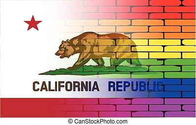 Gay Rainbow Wall California Flag - A well worn wall painted...