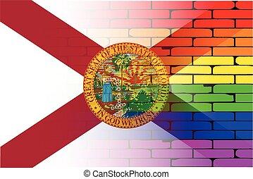 Gay Rainbow Wall Florida Flag