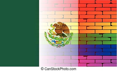 Gay Rainbow Wall Mexico Flag