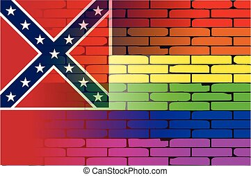 Gay Rainbow Wall Mississippi Flag