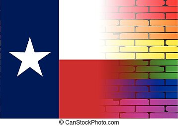 A well worn wall painted in a gay rainbow with the Texan flag