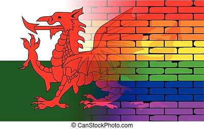 Gay Rainbow Wall Wales Flag