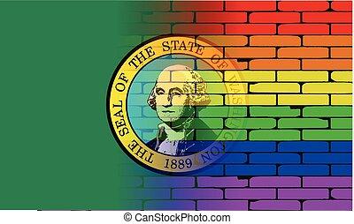 Gay Rainbow Wall Washington Flag