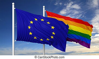 gay, rendre, eu, drapeau, 3d