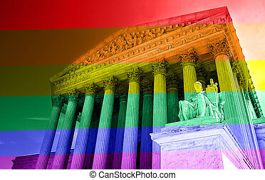 Gay rights concept - The United States Supreme Court with...