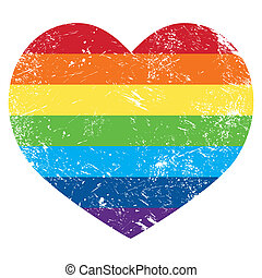 Gay rights rainbow retro heart flag - Gay pride flag with...