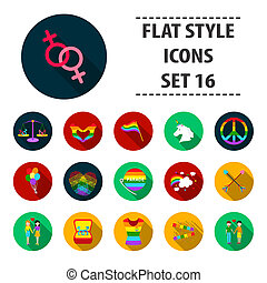 Gay set icons in flat style. Big collection gay bitmap,raster symbol stock illustration