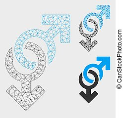 Gay Symbol Vector Mesh Network Model and Triangle Mosaic Icon