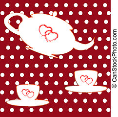 gay tea - sewn on a red background white teapot and two cups