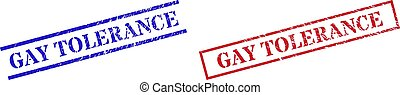 GAY TOLERANCE Grunge Scratched Seal Stamps with Rectangle Frame