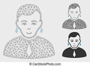 Gay Vector Mesh Network Model and Triangle Mosaic Icon