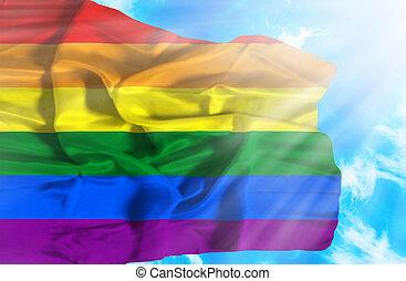 Gay waving flag against blue sky with sunrays