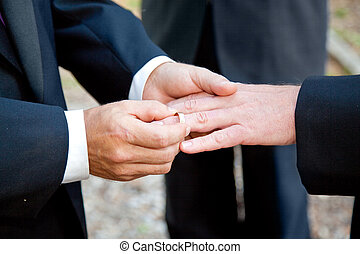 Gay Wedding - Exchanging Rings - Two grooms exchanging...