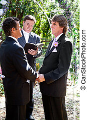 Gay Wedding in the Park - Handsome gay couple getting...
