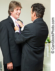 Gay Wedding - Straightening the Tie