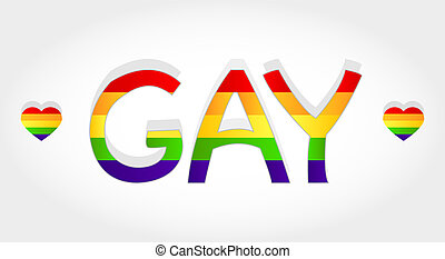 Gay word - Gay stylized word with rainbow and two heart