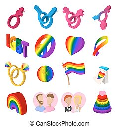 Gays cartoon icons set. Love, family and gays icons isolated...