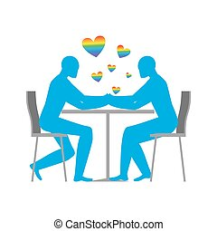 Gays in cafe. Rainbow heart - symbol of LGBT love. Two blue men sitting at table. Lovers in the restaurant. Romantic date in public place. Romantic illustration