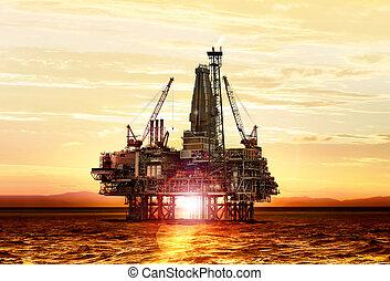 gaz, produkcja, na, przedimek określony przed rzeczownikami, morze