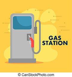 gaz, zapas, powinowaty, służba stacja, przewóz, stacja