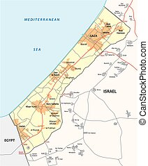 gaza strip map - gaza strip vector map