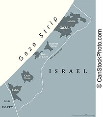 Gaza Strip political map gray - Gaza Strip political map....