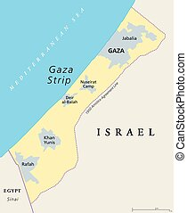 Gaza Strip political map. Self governing Palestinian...