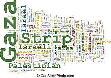 Gaza strip word cloud - Word cloud concept illustration of...