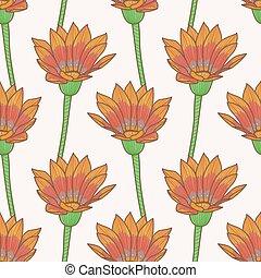 Gazania Flower Seamless Vector Pattern