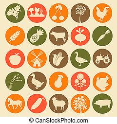 gazdálkodás, állhatatos, mezőgazdaság, ikonok