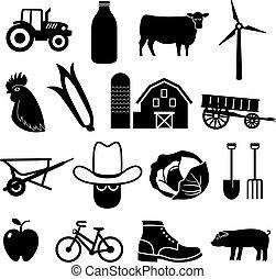 gazdálkodás, és, mezőgazdaság, ikonok