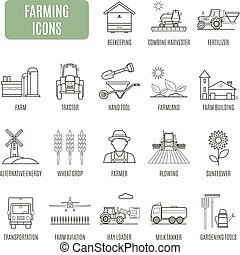 gazdálkodás, icons., állhatatos, közül, vektor, pictogram