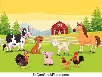 gazdálkodás, karikatúra, háttér, állatok, tanya