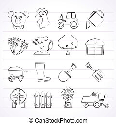 gazdálkodás, mezőgazdaság, ikonok