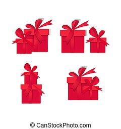 gazdag, doboz, íj, karácsony, állhatatos, vektor, tehetség, ikonok, piros, csomagolt, jelkép, ribbons., ajándék