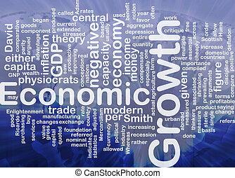 gazdasági növekedés, van, csont, háttér, fogalom