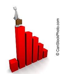 gazdasági pangás, jár, lefelé, ügy, gazdaság, fogalom