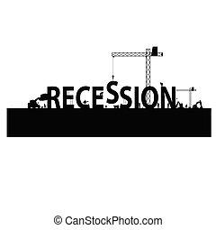 gazdasági pangás, vektor, workforce, ábra
