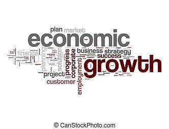 gazdasági, szó, felhő, növekedés